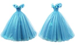 Wholesale Prom Fantasies - New Cinderella Fantasy Light Blue Girls Pageant Dresses Flowers With Butterflies Bateau Kids Birthday Prom Custom Made Kids Ball Gowns