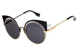 Wholesale Round Cateye Sunglasses - 2016 Fashion Show Same Cateye Sunglasses Big Frame Mirror Flat Lenses Design Sun Glasses Wholesale Glasses Shop