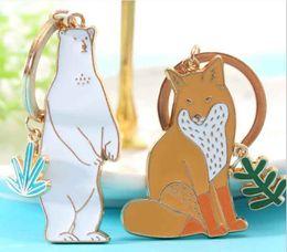 Wholesale Girl Cartoon Hot Fox - 2017 new hot fashion cute Polar bear fox cat metal key chain ring anime keychain keyring creative bag car charm women gift