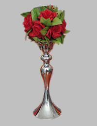 Wholesale Vase Candle Holder Wholesale - 36cm height silver metal candle holder candle stick wedding centerpiece event romantic road lead flower rack 2 pcs = 1 lot