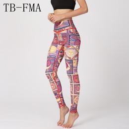 Grande tessuto di stampa floreale online-Pantaloni sportivi con stampa floreale abbigliamento sportivo a vita alta Pantaloni da yoga a compressione Vita larga Tessuto sportivo asciutto Leggings skinny