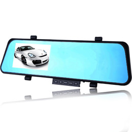 Wholesale New Car DVR Dual Mirrors Tachograph HD p Night Vision degree reverse monitor Car Black Box Vehicle Cam Record inch screen