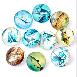 Wholesale Fishing Buttons - New 18MM Snap Buttons Metal Glass Noosa Chunks 10 Mix Cartoon Fish Style Fit Women Kids Diy Jewelry Charm Button Bracelet