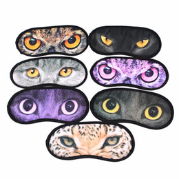 Wholesale Animal Prints Images - Animal Cat-Image Printed Cartoon Eye Sleep Masks Travel Aid Comfortable Sleeping Blindfold Rest Eyeshade Random Style