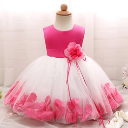 Wholesale Infant Christmas Pictures - Baby Girls Flower Dresses Cotton Pink Short Sleeve Elegant Tutu Skirt Infant Girl Clothes