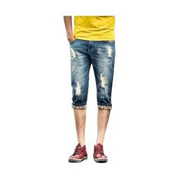 Wholesale Men S Jeans Bermuda - Wholesale-2016 Summer Men Short Jeans Denim Trousers Men's Shorts Bermuda Jeans Floral Edge Men Jeans With Holes Masculina LQ276