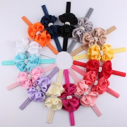 Wholesale Bowknot Rhinestone - Newest !!! 2016 Baby Girls Double Layer Bowknot Headbands Satin Elastic Rhinestone Pearl Hair Accessories Headwear Hairband For Girls KHA393