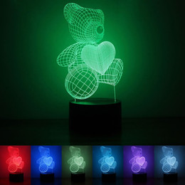 Wholesale Led Bear Night Lights - Colorful LED Light Plastic Love Bear Shape Night Lamp Touch Remote Control 3D Lights Cute For Child Toy 28rm B