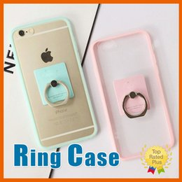 Wholesale Cute Phone Wallets - Finger Ring Case Cute Candy Soft TPU Ring Stand Back Cover Phone Cases For iPhone 7 6 6s Plus 5 5S SE