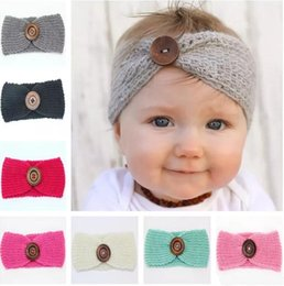 Wholesale knit head band bow - High Quality winter wool knitted headband baby girls kids newborn hair head band wrap turban headwear with button hair accessories wholesale