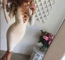 Wholesale Cheap Sexy Red Pencil Dress - Fashion Hollow Out Cheap Dress Sexy Bandage Bodycon Dress Long Sleeve Pencil Dresses 6 Colors Night Club Dress