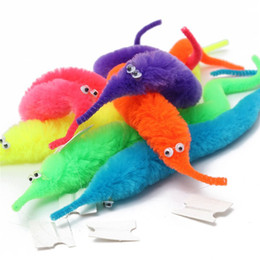 Wholesale Toy Pussy Hot - Hot sale 30pcs lot magic trick Twisty Worm for children gift cheap kids cartoon animal toys Bile pussy mr fuzzy dolls six colors