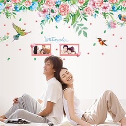 Wholesale Flower Landscape Photos - 60*90cm Wall Stickers DIY Art Decal Removeable Wallpaper Mural Sticker for Living Room Bedroom SK9052 Peony Flowers Bird Photo Frame