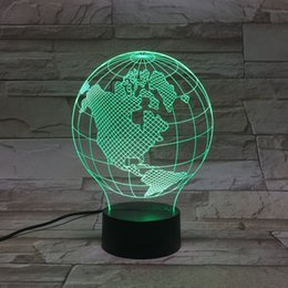 Wholesale Images Decoration Wedding - Bulbification 3D LED Light Lamp With 3D Wire Frame Earth Images Color Changing Lamp globe Craft 3D Lamp Decoration Lamps