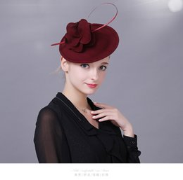 Wholesale Lady Fascinators - High Quality burgundy red black Women Hats for Bride Wedding Evening party Cocktail Wool Flower Fascinators Lady Hat New Fashion