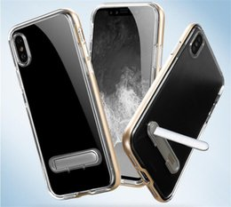 Wholesale Chinese Hood - Crystal Hybrid PC+TPU Stent Clear Cases For iPhoneX 8 PLUS For Samsung galaxy S7 S7edge S8 Case Cover Hood Anti-knock Kickstand Cases