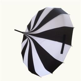 Wholesale Fancy Fabrics - Wholesale-(1 pieces lot) New long-handle pongee canopy white and black colors fancy pagoda umbrellas