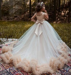 Wholesale Dresses Feathers For Kids - Tulle Ruffles Champagne Ball Gown Flower Girl Dresses Special Occasion For Weddings Floor Length Kids Pageant Gowns Communion Dress
