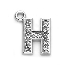 Wholesale Bling Numbers - Hot Fashion Letter H Full Rhinestones Bling Slide Letter DIY Alphabet Charms Fit For Wristband Bracelet Findings Jewelry