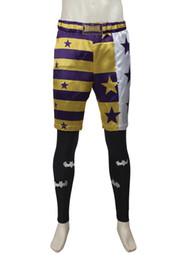Wholesale Custom Leggings - High Quality Handmade Suicide Squad Jared Leto Joker Cosplay Costume Btman Leggings +Short Unisex Any Size