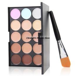 Wholesale Cheap Palettes - 2015 New Arrival New 15 Colors Contour Face Cream Makeup Concealer Palette Powder Brush Cheap makeup artist eyeshadow palette