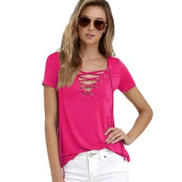 Wholesale Cheap Shirts Wholesale China - Wholesale- Plus Big Szie XXXXL 5XL T Shirt Casual Blusas Bandage Low Price T-Shirt Tops Tee Summer Female Fashion Women Cheap Clothes China