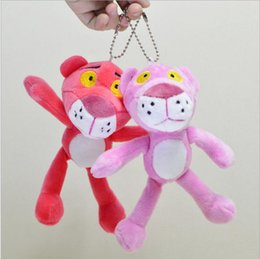 Wholesale Baby Doll For Mans - 18CM Leoute Pink Panther Plush Stuffed Baby Kids Doll Ball key chain Pendant poret clef for women Lovely Pink Panther pendant YYA610