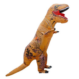 Wholesale kids dinosaur costumes - Unisex Children Kids T-Rex Inflatable Dinosaur Cosplay Costume Blow Up Fancy Funny Dress Halloween Costume Blowup Outfit