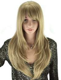 hairstyles for long straight hair bangs Coupons - 50cm European Natural Hairstyles With Bangs Heat Resistant Synthetic Hair Long Straight Blonde Wig For White Women
