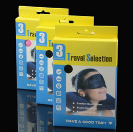 Wholesale Amenity Kits - 3 In1 Travel Set Inflatable Neck Air Cushion Pillow + Eye Mask + 2 Ear Plug Amenity Kit Comfortable Business Trip