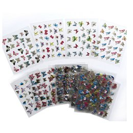 Wholesale Nail Butterfly Stickers - 24 in 1 Sheets Butterfly Animal Pattern For Stamping 3D Nail Sticker Charms Bronzing Nail Art Decal,DIY Nail Tools
