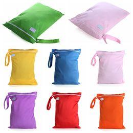 Wholesale Wholesale Cloth Diaper Fabric - Wholesale- 2pcs lot 29cm*35cm Fabric + PUL membrane Waterproof Baby Infant Cloth Diaper Wet Dry Zipper Bag Washable Reusable Diaper Bags