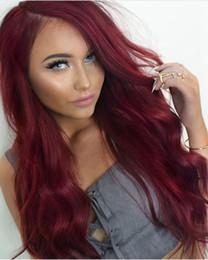 2019 burgund rote haarfarbe Dunkelrote Volle Spitze Menschenhaarperücke Für Balck Frauen Malaysian Burgund Menschenhaarperücke Körperwelle Lace Front Perücken Farbe # 99J rabatt burgund rote haarfarbe