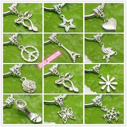Wholesale Letter Beads Jewelry Making - 100pcs mixed Silver Plated Charms Beads for Jewelry Making Loose Charms DIY Big Hole Beads for European Bracelet Wholesale in Bulk Low Price