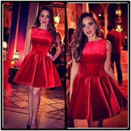 Wholesale teens sexy cocktail dress - Red Fabic Short Prom Dress 2017 Sleeveless Velour Semi Cocktail Party Dress For Teens
