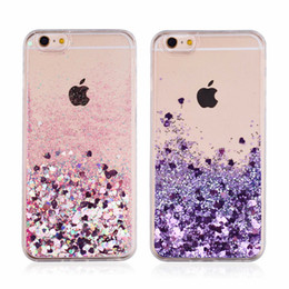 Wholesale 3d smart phones - For Smart phone Quicksand Case For Iphone X 7 7plus 3D Liquid Case glitter Soft TPU Floating Glitter LOVE Case For Samsung Galaxy