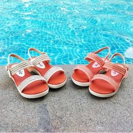 Wholesale Pearl Flat Sandals - Ankle Strap Girls Sandals Kids Flat Shoes Shinning Pearl and Diamond Chain PU Leather Upper PU Outsole White Gold