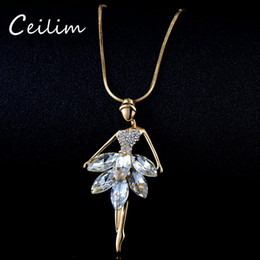 Wholesale Crystal Ballerina Necklace - Fashion Ballet Girls Dancer Pendant Necklace Crystal Rhinestone Charms Ballerina Necklace Long Chain Statement Jewelry Christmas Valentine's