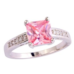 Wholesale Pink Topaz Gold Rings - Fashion Jewelry HandMade Pink Topaz Gems 18K White Gold Plated Silver Ring Size 7 8 9 10 Free Shipping Wholesale