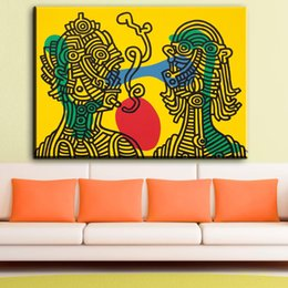Wholesale Pop Art Original - ZZ1850 Keith HARING 1986 Original Pop ART GICLEE poster oil painting print on canvas keith and julia keith haring canvas picture