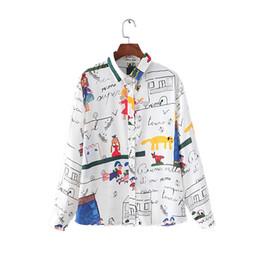 Wholesale Top Neck Patterns Blouse - women fashion cute cartoon graffiti pattern chiffon loose blouse long sleeve shirts ladies streetwear casual tops LT874