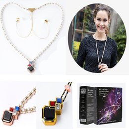 Wholesale Diamond Earphone Headphones - Fashion Design Girl Diamond Necklace Stereo Bluetooth In-ear Earphone Wireless Headset Handfree Headphones For iPhone Galaxy DHL OTH214