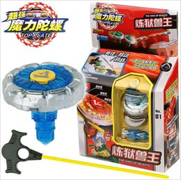 Wholesale Top Set Rapidity Beyblade Launchers - Kids Beyblade Spining Tops New Metal Fight Fusion Top Rapidity Fight Master Rare Beyblade 4D Launcher Grip Set