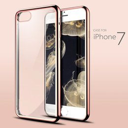 Wholesale Gel Mobile Phone Covers - for iPhone 7 Case Crystal Clear Soft TPU Gel Shockproof Cover iPhone 7 Plus Ultra Thin Slim Plating Bumper Cases for Mobile Phone