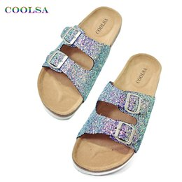 Wholesale Women Flat Bling Shoes - Coolsa New Women Cork Beach Slippers Sparkling Sequins Bling Slides Flat Clogs Sandals Female Double Buckle Casual Playa Shoes