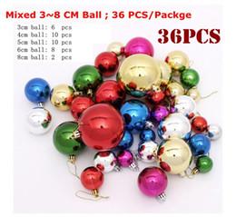Wholesale Pink Plastic Christmas Tree - 36 Pcs Mixed 3~8cm multi Color Plastic Ball Christmas Tree Ornament Christmas Balls Decorantion Festice Festive Party Supplies