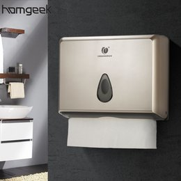 Wholesale Gold Tissue Paper Wholesale - Wholesale- Wall-mounted Bathroom Tissue Dispenser Tissue Box Holder for Multifold Paper Towels Champagne gold Silver White Optional