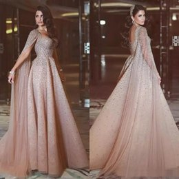 Wholesale Tulle Shawl Formal - Exquisite 2017 Arabic Major Beading Beaded Dresses Evening Wear Luxury Sweetheart Illusion Shawl Sleeve Long Formal Gowns EN93010