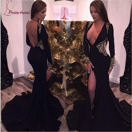 Wholesale Sexy Evening Gown Long Split - Sexy Deep V Neck Mermaid Split Backless Evening Dresses 2017 Long Sleeves Applique Black Prom Pregnant Party Gowns