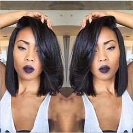 Wholesale Hot Short Hairstyles - Hot Selling Brazilian 9A Bob Cut Wigs Human Hair Bob Full Lace Wig For Black Women Full Culticle Short Bob Full Lace Wig